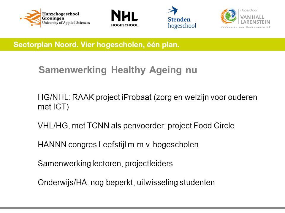Samenwerking Healthy Ageing nu HG/NHL: RAAK project iProbaat (zorg en welzijn voor ouderen met ICT) VHL/HG, met TCNN als penvoerder: project Food Circle HANNN congres Leefstijl m.m.v.