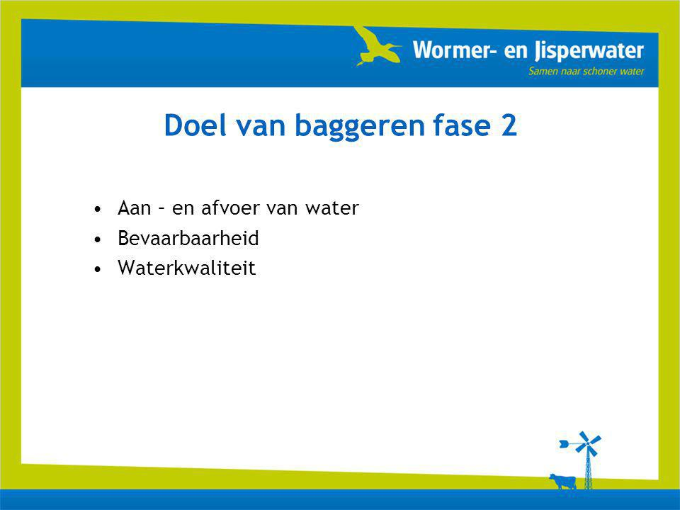 Doel van baggeren fase 2 Aan – en afvoer van water Bevaarbaarheid Waterkwaliteit