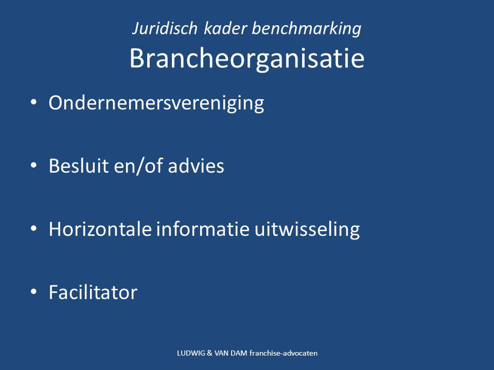 Juridisch kader benchmarking Brancheorganisatie Ondernemersvereniging Besluit en/of advies Horizontale informatie uitwisseling Facilitator LUDWIG & VAN DAM franchise-advocaten