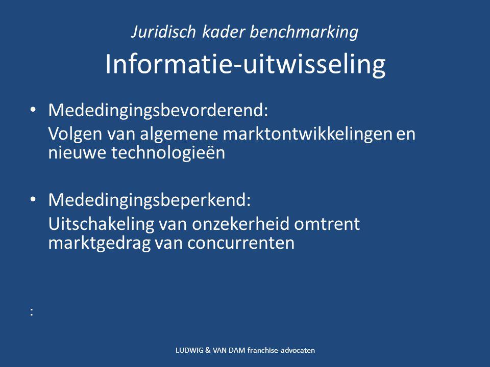 Juridisch kader benchmarking Informatie-uitwisseling Mededingingsbevorderend: Volgen van algemene marktontwikkelingen en nieuwe technologieën Mededingingsbeperkend: Uitschakeling van onzekerheid omtrent marktgedrag van concurrenten : LUDWIG & VAN DAM franchise-advocaten