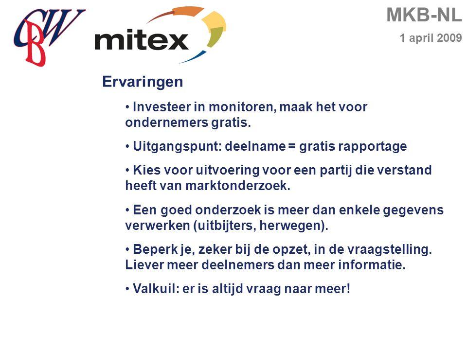 MKB-NL 1 april 2009 Ervaringen Investeer in monitoren, maak het voor ondernemers gratis.