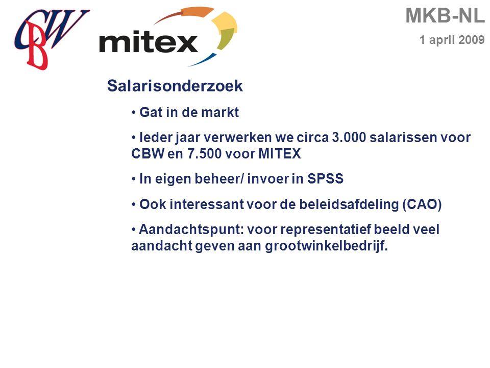 MKB-NL 1 april 2009 Salarisonderzoek Gat in de markt Ieder jaar verwerken we circa 3.000 salarissen voor CBW en 7.500 voor MITEX In eigen beheer/ invoer in SPSS Ook interessant voor de beleidsafdeling (CAO) Aandachtspunt: voor representatief beeld veel aandacht geven aan grootwinkelbedrijf.
