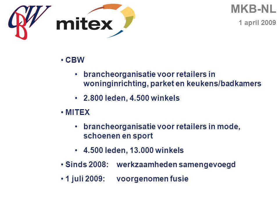 MKB-NL 1 april 2009 CBW brancheorganisatie voor retailers in woninginrichting, parket en keukens/badkamers 2.800 leden, 4.500 winkels MITEX brancheorganisatie voor retailers in mode, schoenen en sport 4.500 leden, 13.000 winkels Sinds 2008:werkzaamheden samengevoegd 1 juli 2009:voorgenomen fusie