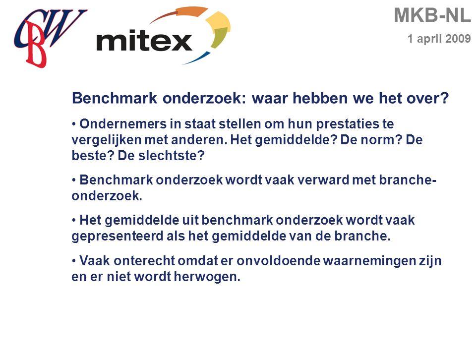 MKB-NL 1 april 2009 Benchmark onderzoek: waar hebben we het over.