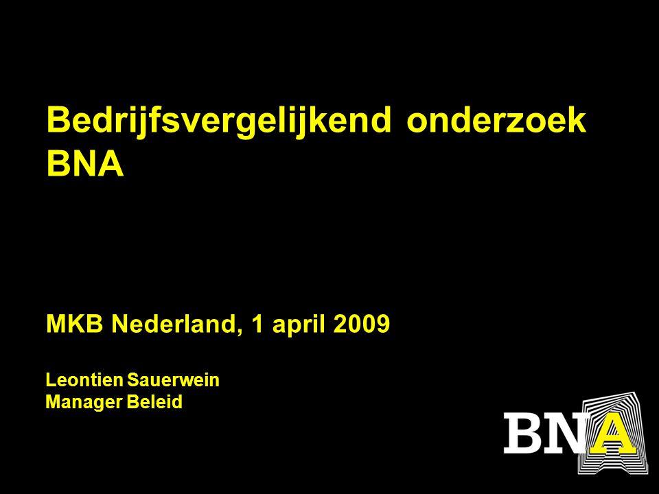 Bedrijfsvergelijkend onderzoek BNA MKB Nederland, 1 april 2009 Leontien Sauerwein Manager Beleid