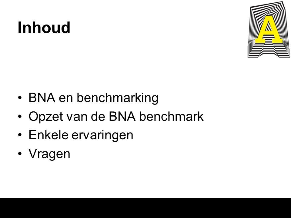 Inhoud BNA en benchmarking Opzet van de BNA benchmark Enkele ervaringen Vragen