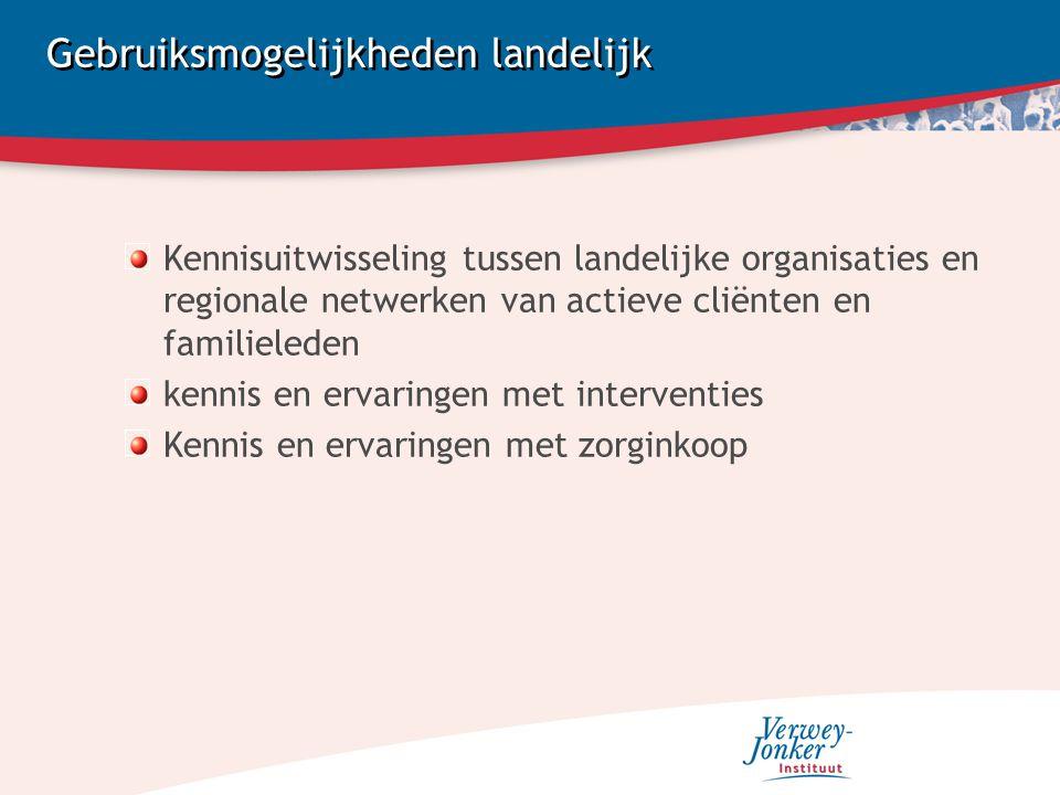 Gebruiksmogelijkheden landelijk Kennisuitwisseling tussen landelijke organisaties en regionale netwerken van actieve cliënten en familieleden kennis en ervaringen met interventies Kennis en ervaringen met zorginkoop