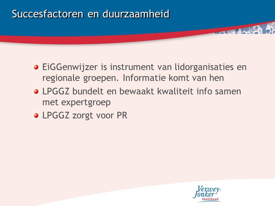 Succesfactoren en duurzaamheid EiGGenwijzer is instrument van lidorganisaties en regionale groepen.