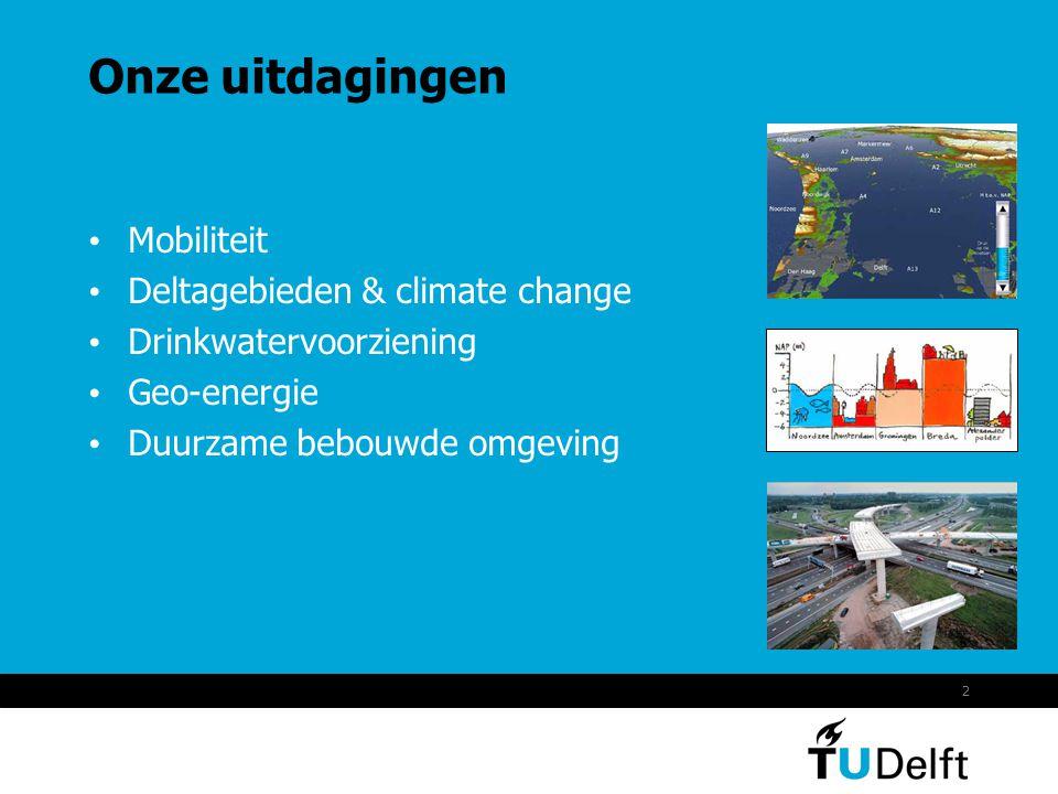 2 Onze uitdagingen Mobiliteit Deltagebieden & climate change Drinkwatervoorziening Geo-energie Duurzame bebouwde omgeving
