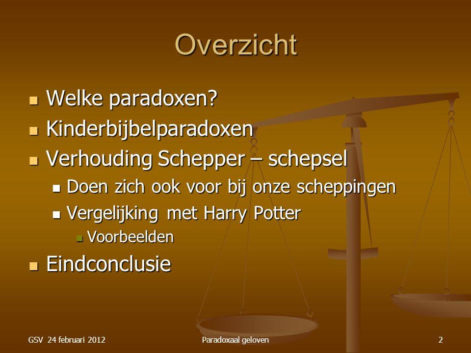 GSV 24 februari 2012Paradoxaal geloven23 Paradox: Wonderen God kan in zijn wereld dingen laten gebeuren buiten de natuurwetten om.