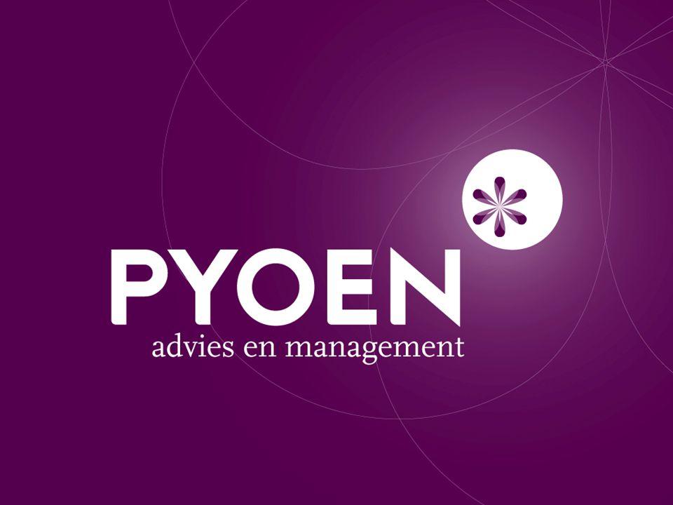 Welkom bij Pyoen Specialisatie in strategie ontwikkeling en communicatieaanpak Verbindt organisatiebeleid en de communicatiestrategie Praktische vertaling van strategie in actie en uitvoering