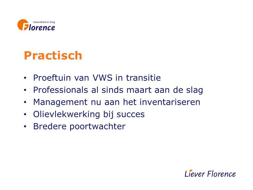 Practisch Proeftuin van VWS in transitie Professionals al sinds maart aan de slag Management nu aan het inventariseren Olievlekwerking bij succes Bredere poortwachter