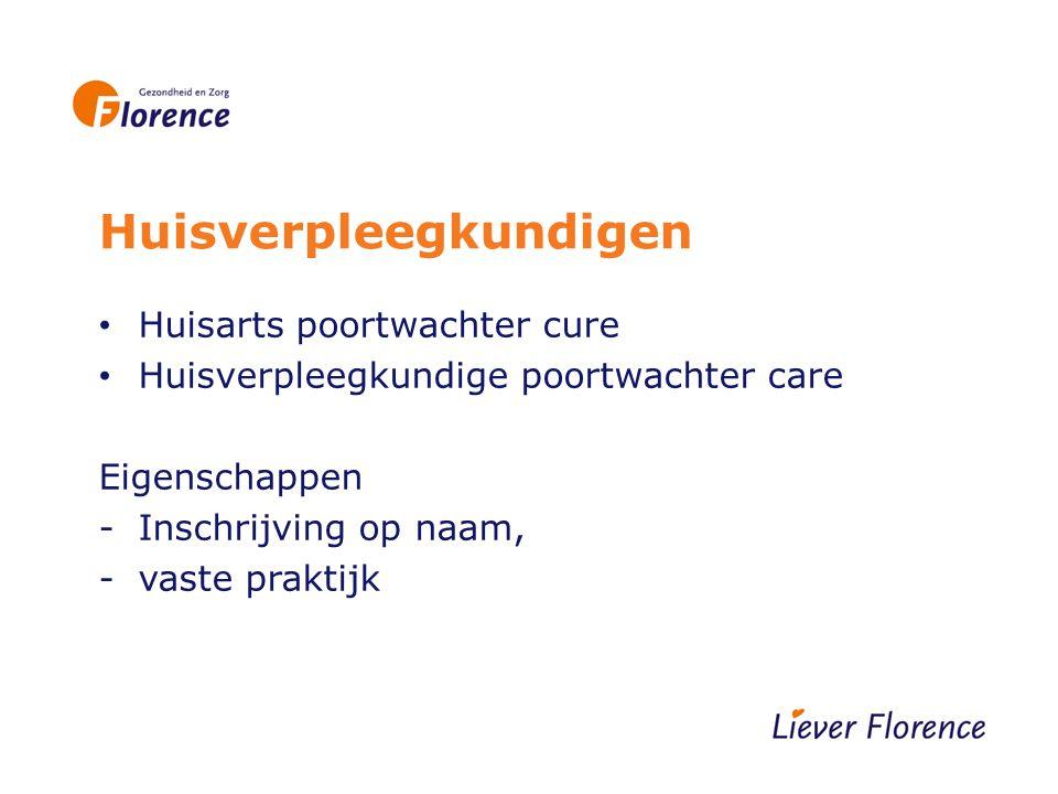 Huisverpleegkundigen Huisarts poortwachter cure Huisverpleegkundige poortwachter care Eigenschappen -Inschrijving op naam, -vaste praktijk