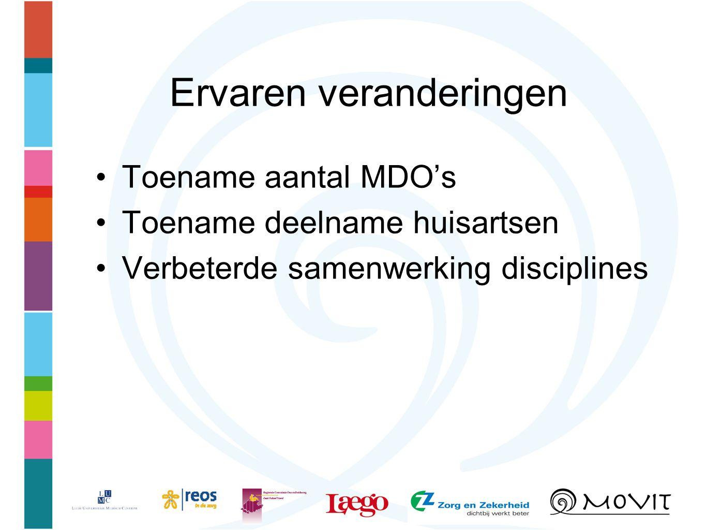 Ervaren veranderingen Toename aantal MDO's Toename deelname huisartsen Verbeterde samenwerking disciplines