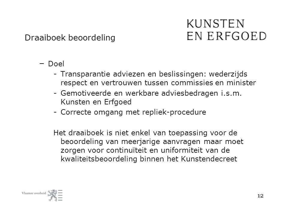 Draaiboek beoordeling – Doel - Transparantie adviezen en beslissingen: wederzijds respect en vertrouwen tussen commissies en minister - Gemotiveerde en werkbare adviesbedragen i.s.m.