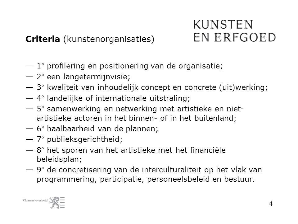 Criteria (kunstenorganisaties) — 1° profilering en positionering van de organisatie; — 2° een langetermijnvisie; — 3° kwaliteit van inhoudelijk concep