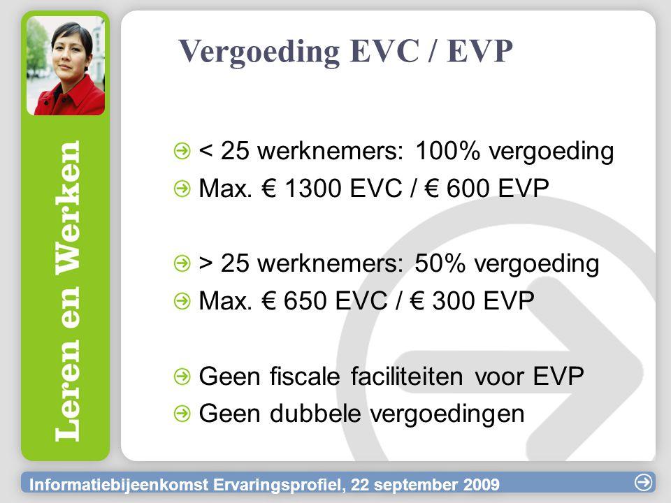 Informatiebijeenkomst Ervaringsprofiel, 22 september 2009 Vergoeding EVC / EVP < 25 werknemers: 100% vergoeding Max. € 1300 EVC / € 600 EVP > 25 werkn