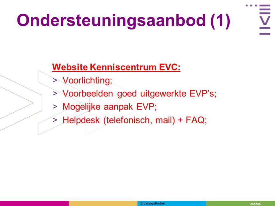 xxxxxx ErVaringsProfiel Ondersteuningsaanbod (1) Website Kenniscentrum EVC: >Voorlichting; >Voorbeelden goed uitgewerkte EVP's; >Mogelijke aanpak EVP;