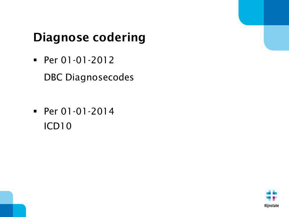 Diagnose codering  Per 01-01-2012 DBC Diagnosecodes  Per 01-01-2014 ICD10