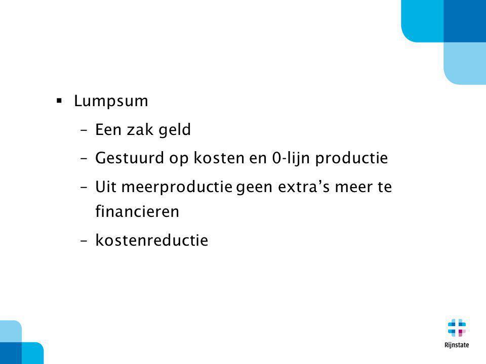  Lumpsum –Een zak geld –Gestuurd op kosten en 0-lijn productie –Uit meerproductie geen extra's meer te financieren –kostenreductie