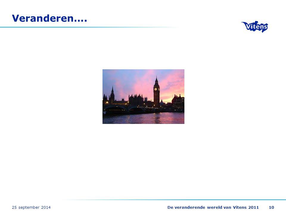 25 september 2014De veranderende wereld van Vitens 201110 Veranderen….
