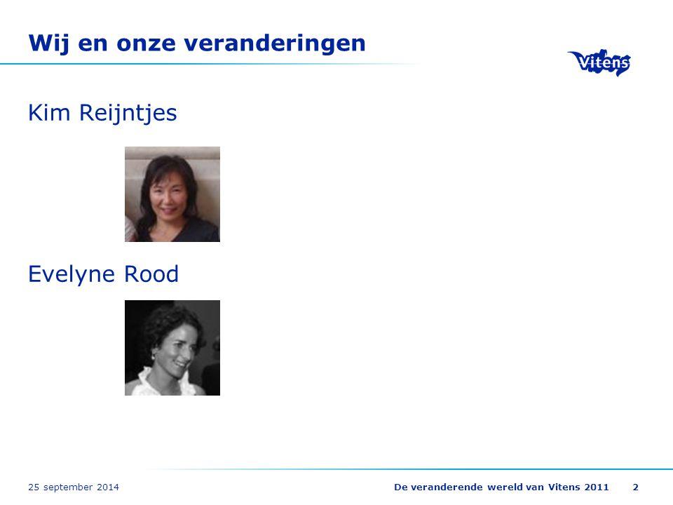 25 september 2014De veranderende wereld van Vitens 20112 Wij en onze veranderingen Kim Reijntjes Evelyne Rood
