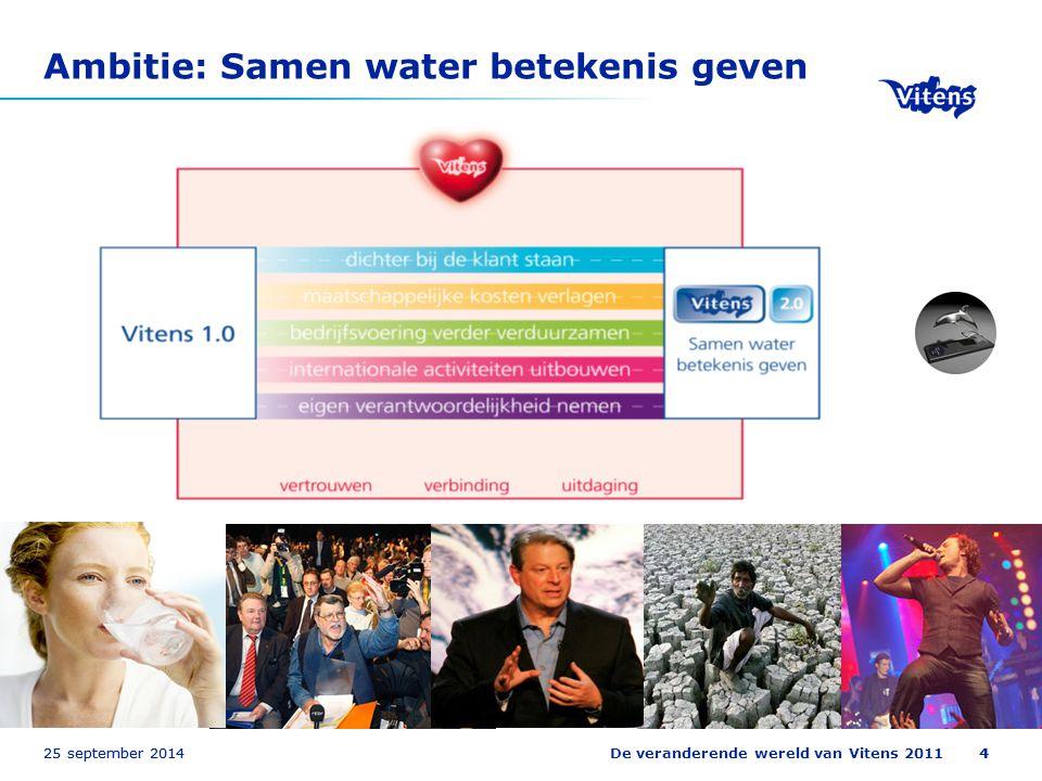 25 september 2014De veranderende wereld van Vitens 2011425 september 20144 Ambitie: Samen water betekenis geven