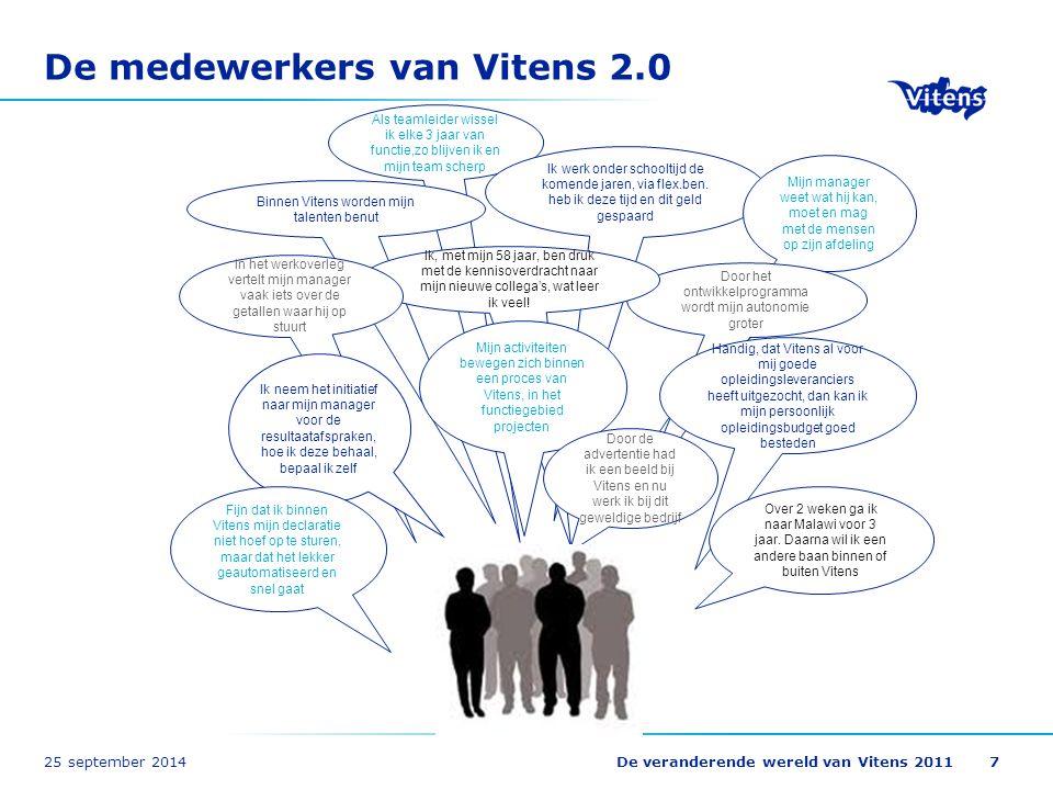 25 september 2014De veranderende wereld van Vitens 20117 De medewerkers van Vitens 2.0 Als teamleider wissel ik elke 3 jaar van functie,zo blijven ik