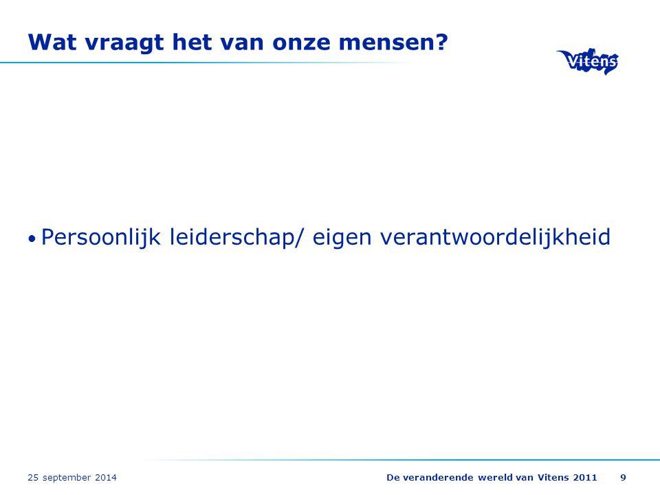 25 september 2014De veranderende wereld van Vitens 201120 Zelfregie loopbaan: wens of noodzaak Stelling 1: Zelfregie kun je forceren.