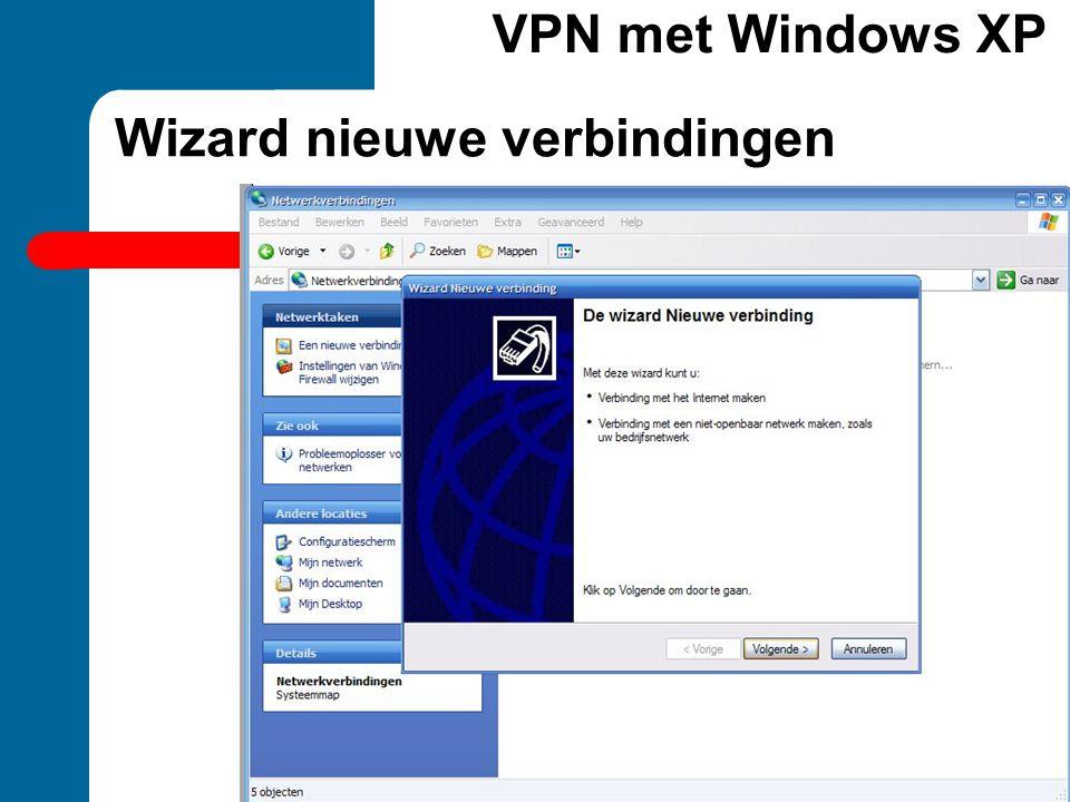 Wizard nieuwe verbindingen VPN met Windows XP