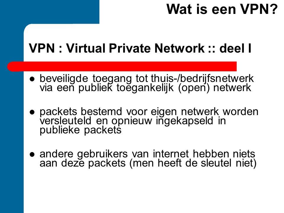 VPN : Virtual Private Network :: deel I beveiligde toegang tot thuis-/bedrijfsnetwerk via een publiek toegankelijk (open) netwerk packets bestemd voor