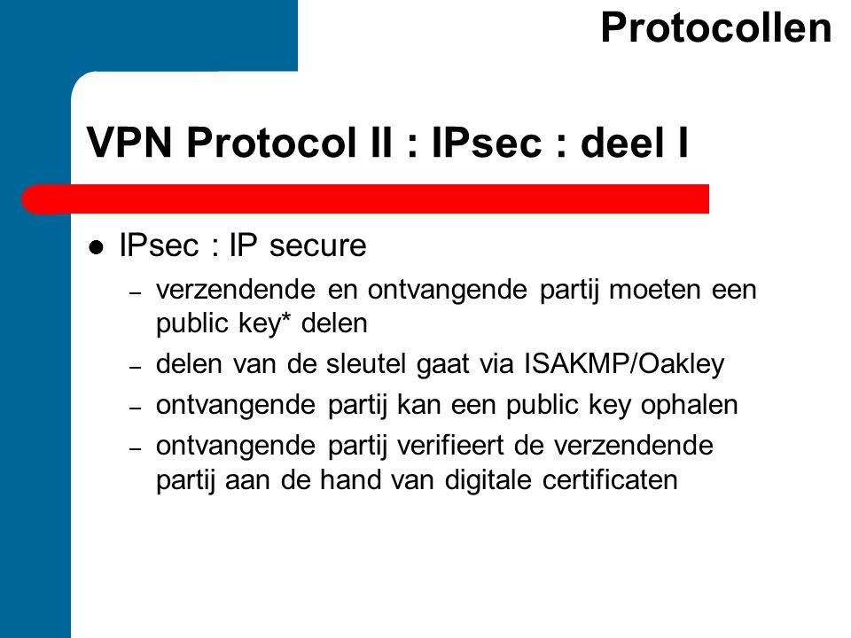 VPN Protocol II : IPsec : deel I Protocollen IPsec : IP secure – verzendende en ontvangende partij moeten een public key* delen – delen van de sleutel