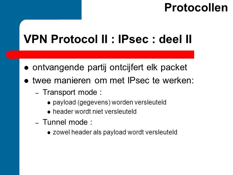 ontvangende partij ontcijfert elk packet twee manieren om met IPsec te werken: – Transport mode : payload (gegevens) worden versleuteld header wordt n