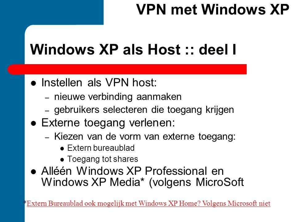Windows XP als Host :: deel I Instellen als VPN host: – nieuwe verbinding aanmaken – gebruikers selecteren die toegang krijgen Externe toegang verlene