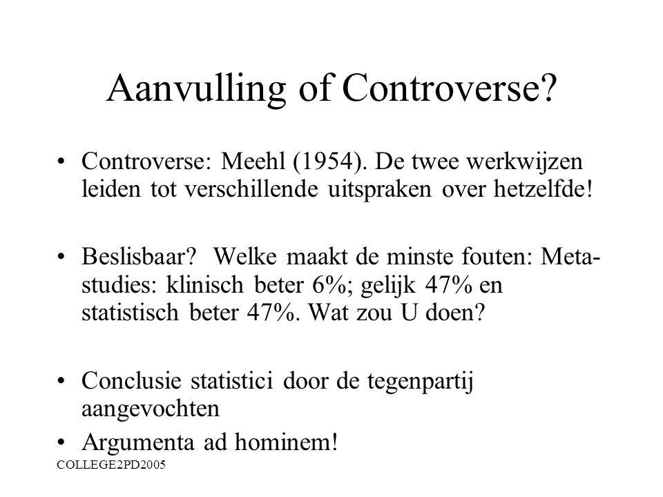 COLLEGE2PD2005 Wetenschapstheoretische achtergrond Hoofdstuk 2: Klinische versus Statistische predictie Achtergrond: ideografisch - nomothetisch Klini