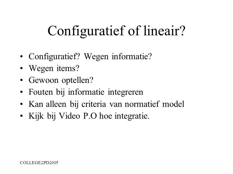 COLLEGE2PD2005 Naast strijd ook analyse Afbeelden van klinisch oordeel: Hoe? Informatie uit…; integreren: hoe: optellen wegen? Logica is normatief en