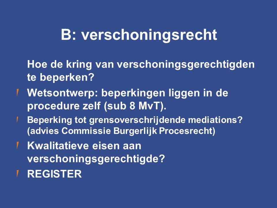B: verschoningsrecht Hoe de kring van verschoningsgerechtigden te beperken? Wetsontwerp: beperkingen liggen in de procedure zelf (sub 8 MvT). Beperkin