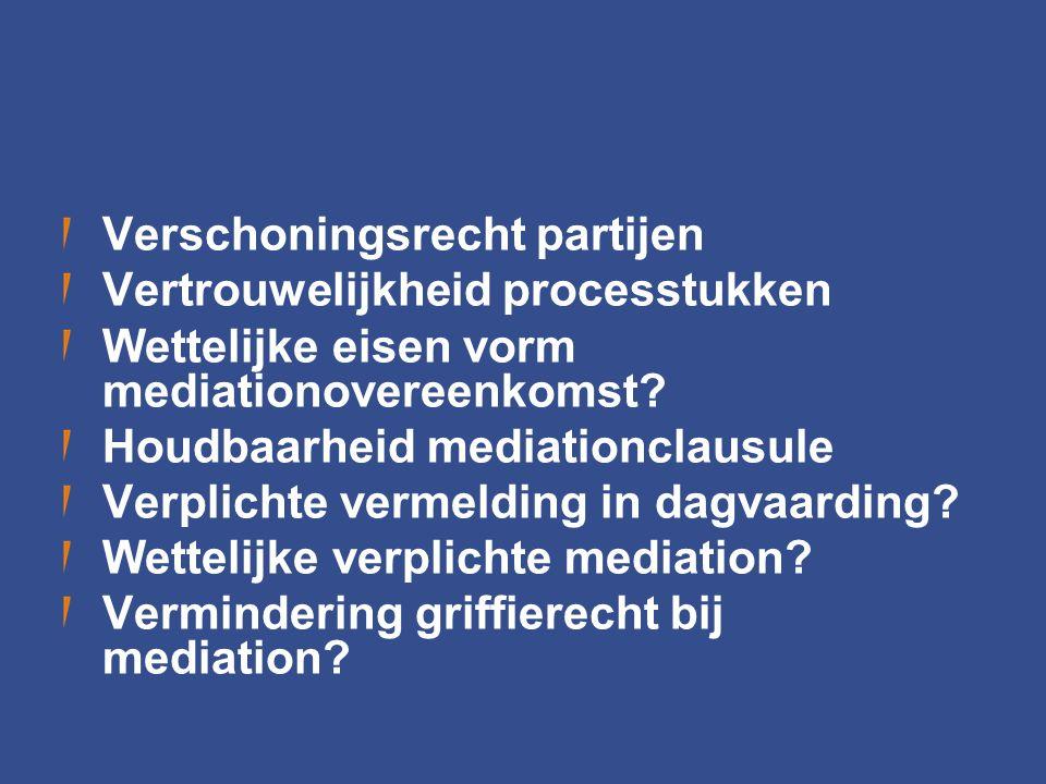 Verschoningsrecht partijen Vertrouwelijkheid processtukken Wettelijke eisen vorm mediationovereenkomst? Houdbaarheid mediationclausule Verplichte verm