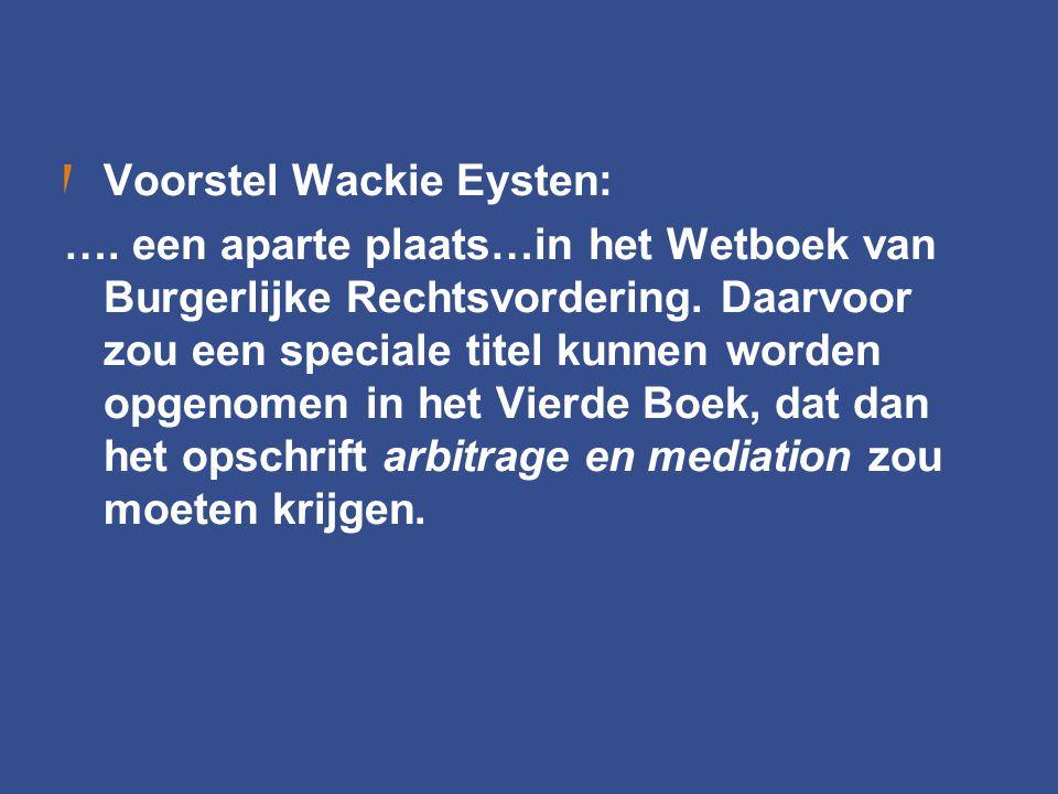 Voorstel Wackie Eysten: …. een aparte plaats…in het Wetboek van Burgerlijke Rechtsvordering. Daarvoor zou een speciale titel kunnen worden opgenomen i