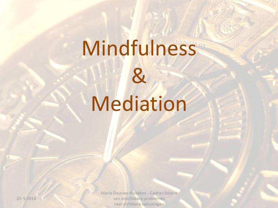 Mindfulness & Mediation 25-9-2014 Maria Douwes-Hulzebos - Cadran Solaire van onzichtbare problemen naar zichtbare oplossingen
