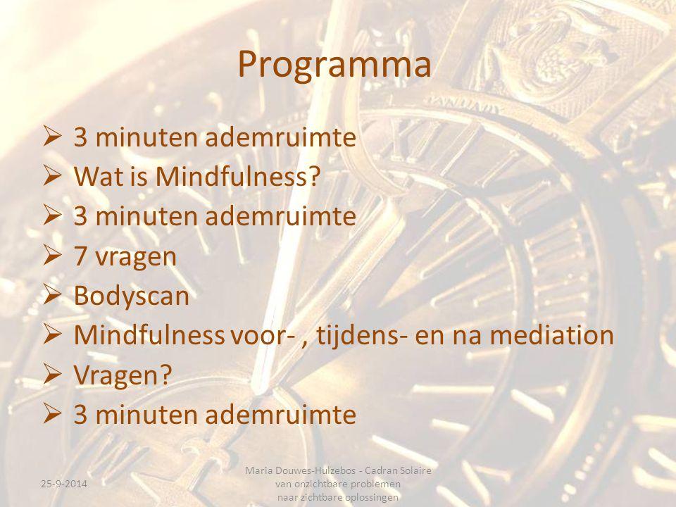 Programma  3 minuten ademruimte  Wat is Mindfulness.