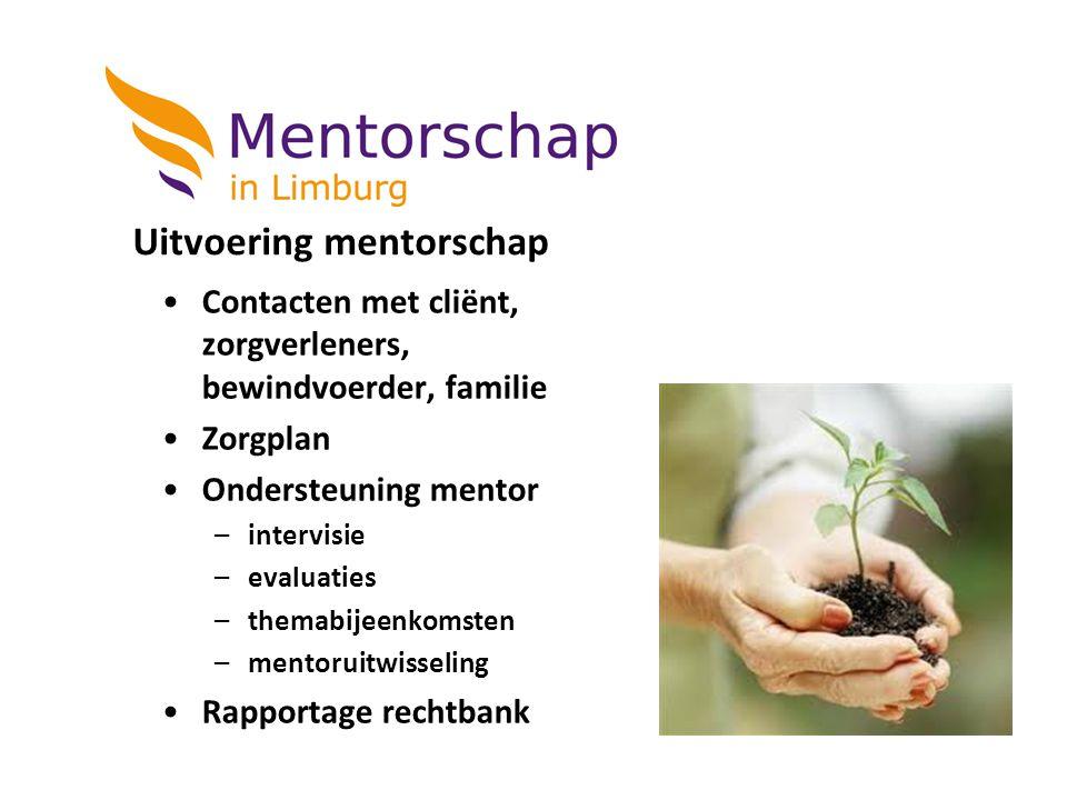 Uitvoering mentorschap Contacten met cliënt, zorgverleners, bewindvoerder, familie Zorgplan Ondersteuning mentor –intervisie –evaluaties –themabijeenk