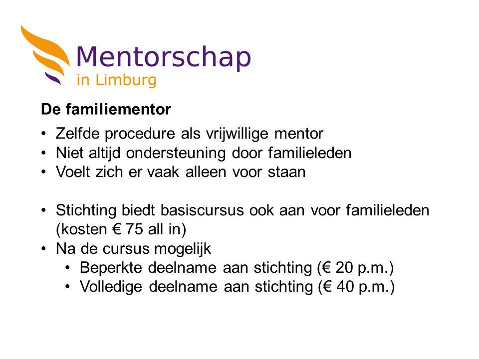 De familiementor Zelfde procedure als vrijwillige mentor Niet altijd ondersteuning door familieleden Voelt zich er vaak alleen voor staan Stichting bi