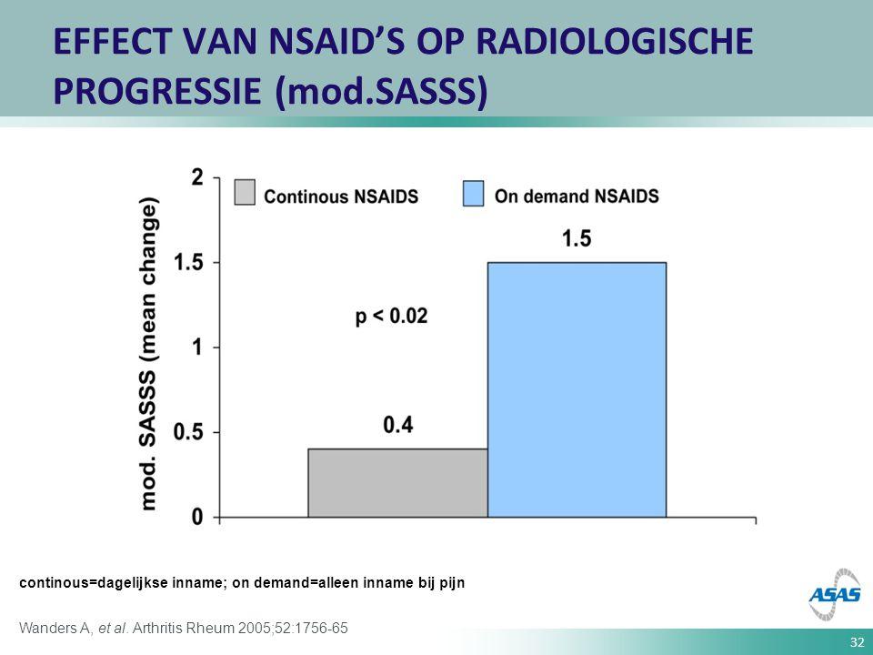 32 Wanders A, et al. Arthritis Rheum 2005;52:1756-65 EFFECT VAN NSAID'S OP RADIOLOGISCHE PROGRESSIE (mod.SASSS) continous=dagelijkse inname; on demand