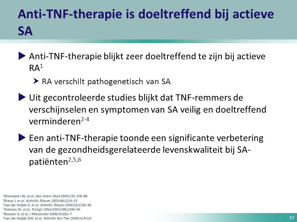 37 Anti-TNF-therapie is doeltreffend bij actieve SA  Anti-TNF-therapie blijkt zeer doeltreffend te zijn bij actieve RA 1  RA verschilt pathogenetisc