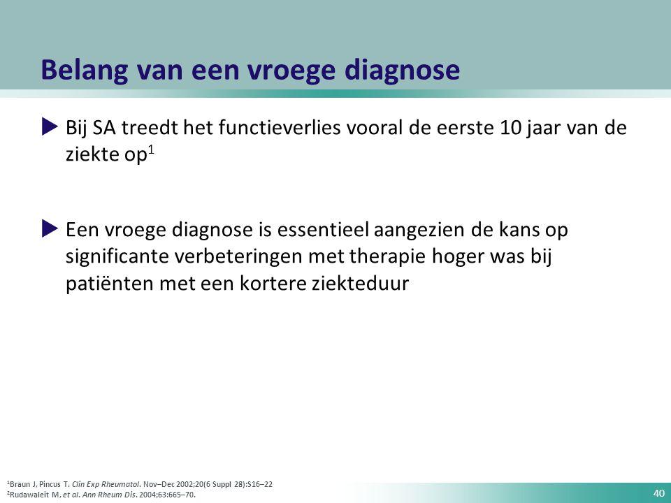 40 Belang van een vroege diagnose  Bij SA treedt het functieverlies vooral de eerste 10 jaar van de ziekte op 1  Een vroege diagnose is essentieel a