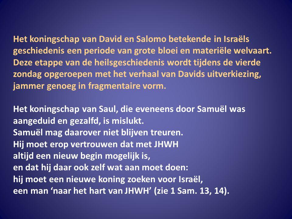 Het koningschap van David en Salomo betekende in Israëls geschiedenis een periode van grote bloei en materiële welvaart. Deze etappe van de heilsgesch