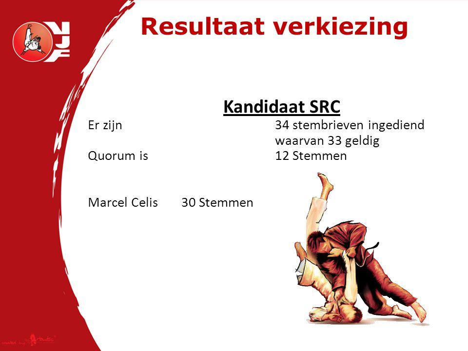 Resultaat verkiezing Kandidaat SRC Er zijn 34 stembrieven ingediend waarvan 33 geldig Quorum is 12 Stemmen Marcel Celis30 Stemmen