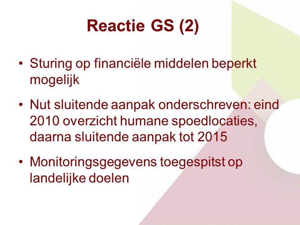 Reactie GS (2) Sturing op financiële middelen beperkt mogelijk Nut sluitende aanpak onderschreven: eind 2010 overzicht humane spoedlocaties, daarna sluitende aanpak tot 2015 Monitoringsgegevens toegespitst op landelijke doelen