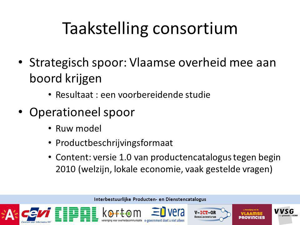 Taakstelling consortium Strategisch spoor: Vlaamse overheid mee aan boord krijgen Resultaat : een voorbereidende studie Operationeel spoor Ruw model Productbeschrijvingsformaat Content: versie 1.0 van productencatalogus tegen begin 2010 (welzijn, lokale economie, vaak gestelde vragen) Interbestuurlijke Producten- en Dienstencatalogus